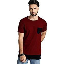 Leotude Men's Cotton T-shirt (Red, X-Large)