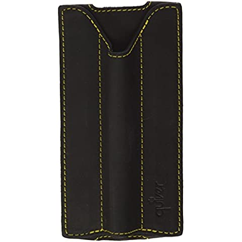 Quiver Single Pen Holder for Pocket (A6) Moleskine Notebooks - Black Leather/Yellow Stitching