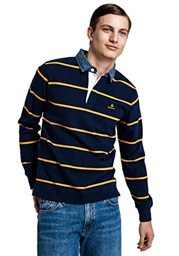 GANT 2025024-433 Breton Stripe Heavy Rugger Poloshirt für Herren, langärmlig, 100% Baumwolle, Regular Fit, Blau XXL