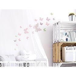 """I-love-Wandtattoo WAS-10078 - Set de pegatinas de pared para habitación infantil A4 """"mariposas con patrones para las niñas"""", 20 unidades, para pegar, adhesivos murales, decoración de pared"""