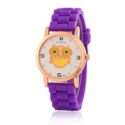 Cute-Owl-Diamonds-Quartz-Analog-Watch-for-Teenage-Girl-Candy-Color-Silicone-Strap-Purple