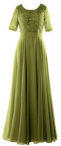 MACloth - Robe - Trapèze - Manches Courtes - Femme vert olive