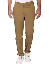 Linenlove Men's Regular Fit Dobby, Khaki 100% Cotton Formal Trouser For Men