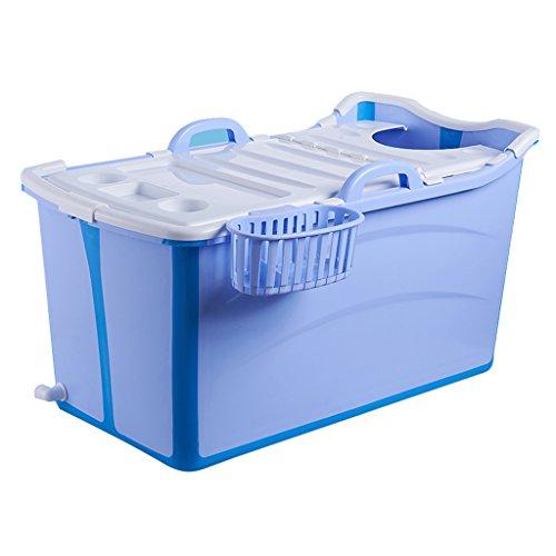 GY Tragbar Falten Badewanne Für Erwachsene, Kann In Der Babywanne Sitzen Verdickung Verlängern Kunststoff, Heimkind Ganzkörperbad Badeeimer, 2 Farben, 81 * 42 * 53cm (Farbe : Blau)