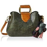 Zeneve London Womens Satchel Bag, Green - 1191832061