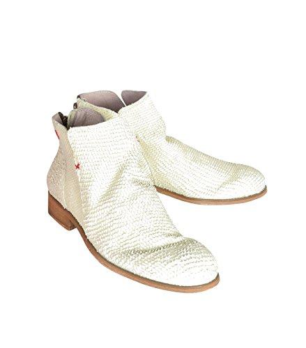 NOBRAND Damen Schuhe Stiefel Stiefelette Boots - Baumwolle - beige lime fish 40