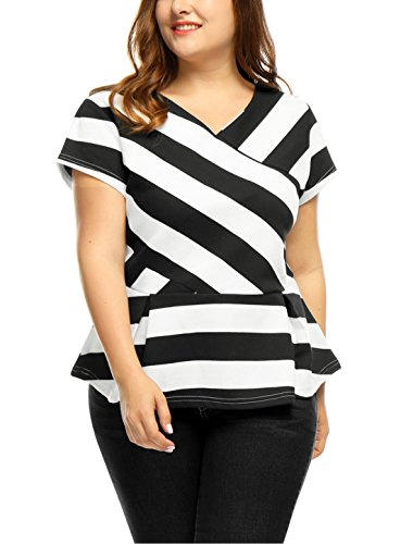 2X , Black : Agnes Orinda Women's Plus Size V Neck Inverted Pleats Striped Peplum Top