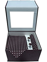 Riyasat - Brown Color Micro Fibre Men,s Tie, Cufflink and Pocket Square Gift Set
