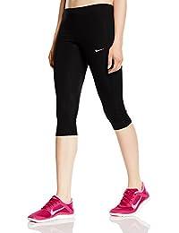 Nike Df Essential Capri - Mallas capri para mujer, color negro / plateado, talla L