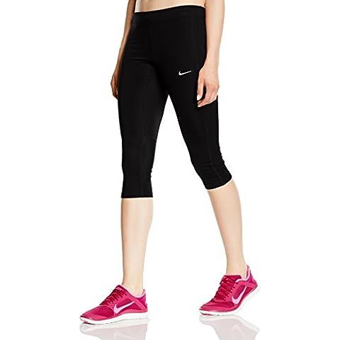 Nike Df Essential Capri - Mallas capri para mujer, color negro / plateado, talla M