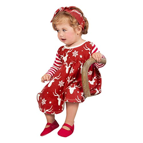 HKFV Neugeborene Baby Mädchen Deer Striped Prinzessin Kleid Stirnband Weihnachten Kleidung Infant Weihnachten Streifen Hirsche Kleider mit Anzügen (80, Rot)