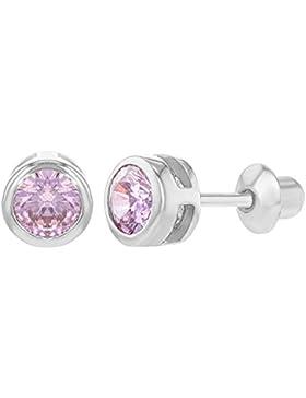 In Season Jewelry Baby Mädchen - Schraubverschluss Ohrringe Lünette Rund 925 Sterling Silber Rosa CZ Zirkonia...