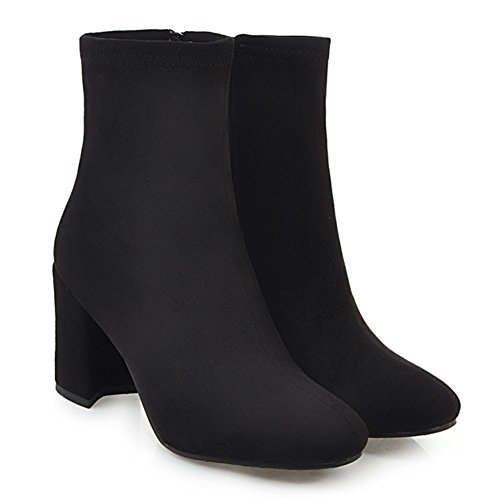 Aisun Femme Simple Bout Carré à Talon Haut Bloc Bottines Chelsea Noir