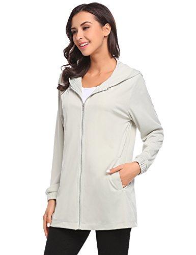 Meaneor Damen Herbst Winter Übergangsjacke Kaupze Mantel Outwear Parkajacke mit Tasche Grau