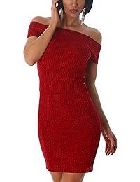 Jela London Damen Slim-Fit Stretchkleid in Streifen-Optik mit Carmen-Ausschnitt (Einheitsgröße 32 34 36)