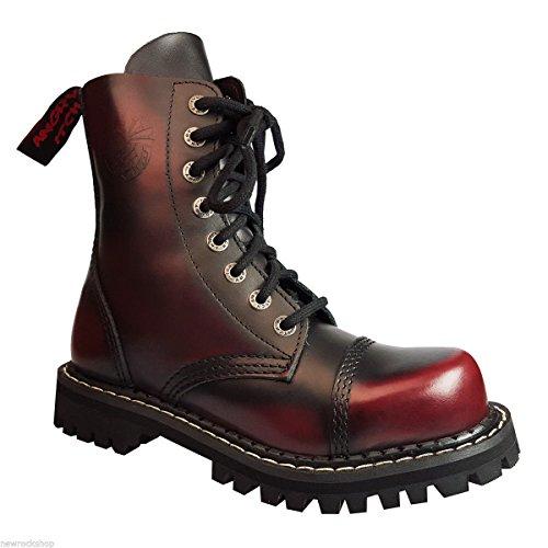 Angry Itch 8 Buchi Stivali Militari Anfibi in Pelle Color Bordeaux Rosso punta di ferro punk (44)