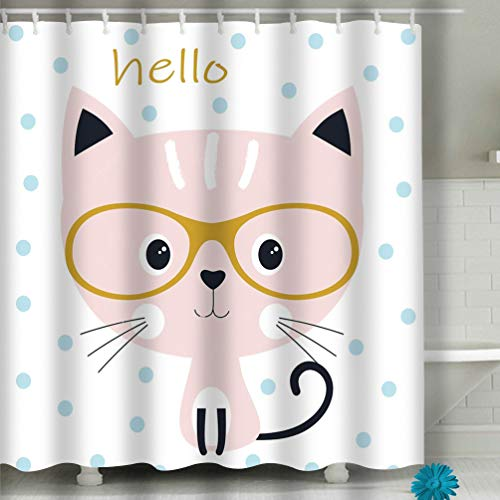 suzhoudoushioumiyafushi Beach Shower Curtain Cute Cat Glasses Sweet Background Blue Circles Cartoon Kitty Card Design Prints Lettering Hello Fabric Bathroom Decor 60 X 72 inch