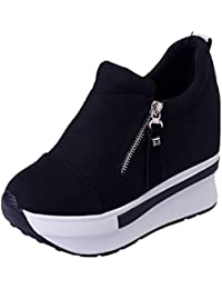 Zapatos mujer plataforma, ❤️Amlaiworld Zapatos casuales de moda de mujer Botas de cuña para mujer Zapatos de plataforma Botas de tobillo con cordones Calzado Zapatos al aire libre zapatillas Mujer (Negro, 39)