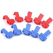Conectores De Cable De Empalme Rapido Bloqueo De Cable 18-24awg 10pcs Alambre Rojo + Azul