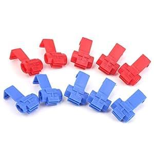 Connecteurs De Fils D'epissure Rapides Cable Lock 18-24awg 10pcs De Fil Rouge + Bleu