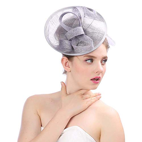 Frau Bankett Hochzeit Fedoras-Hut Britisch Retro Fedora Deckel Lady Royal Ascot Faszinator Braut Kopfbedeckungen Hüte Tee Partyhüte Haar Klammern Für Mädchen Haarband Cocktail Mesh Kentucky Derby,F