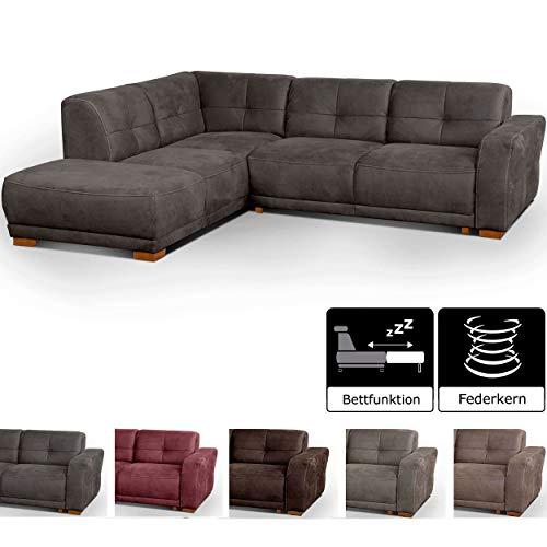 Cavadore Schlafsofa Modeo, mit Federkern, Sofa in L-Form mit Schlaffunktion im modernen Landhausstil, Holzfüße, 261 x 77 x 214, Lederoptik, grau