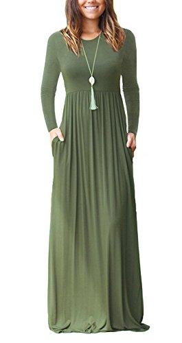 VIISHOW Frauen Langarm Casual Loose T-Shirt Kleid (Armeegrün S) (Kleid Maxi Casual)