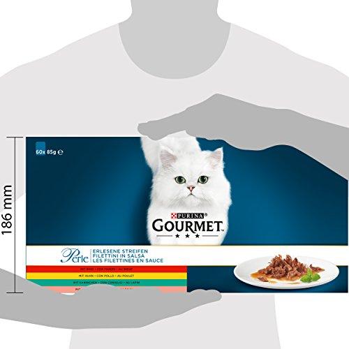 Gourmet Perle Erlesene Streifen mit Huhn, Rind, Lachs und Kaninchen, Hochwertiges Nassfutter für Katzen (60 x 85 g Portionsbeutel) - 3