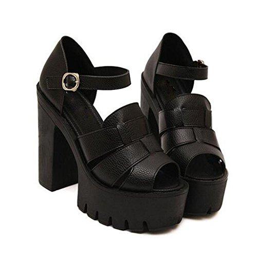 W&LM Signorina Tacchi alti sandali Ruvido Ultra Tacchi alti Bocca di pesce Piattaforma impermeabile vera pelle sandali Black