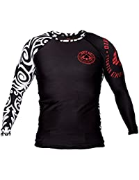 Dirty Ray MMA Tribal NZ All Black t-shirt manche longue rashguard homme RG1LS