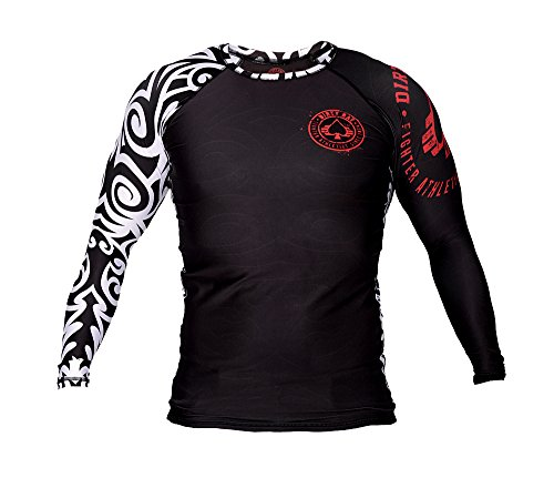 Dirty Ray Tribal NZ All Black maglietta rashguard maniche lunghe uomo RG1LS (M)