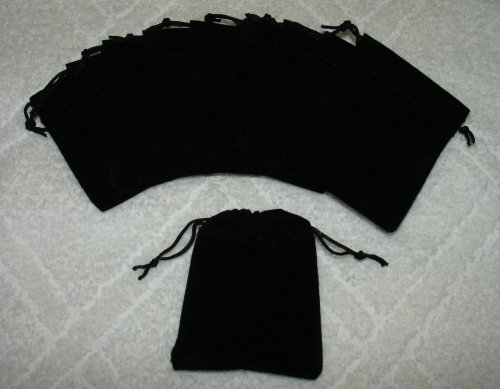 (10) Small Velvet Black Pouches With Drawstrings by NON-Label