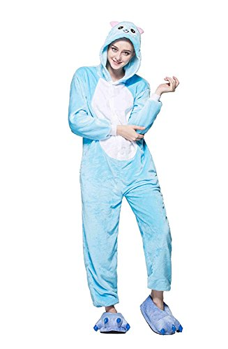 URVIP Neu Unisex Festliche Anzug Flanell Pyjamas Trickfilm Jumpsuit Tier Cartoon Fasching Halloween Kostüm Sleepsuit Party Cosplay Pyjama Schlafanzug Blau Katze Medium