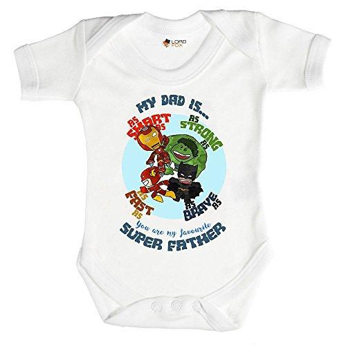 My Dad Is A Superhero Geschenk Marvel Daddy Vater Strampler Baby Grow alle Größen 0-3 Monate