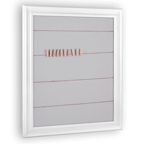 Schnurrahmen für Fotos, Bilder - Fotowand inkl. 20 Klammern und Schnur ('Athen') 30x40cm Weiß...