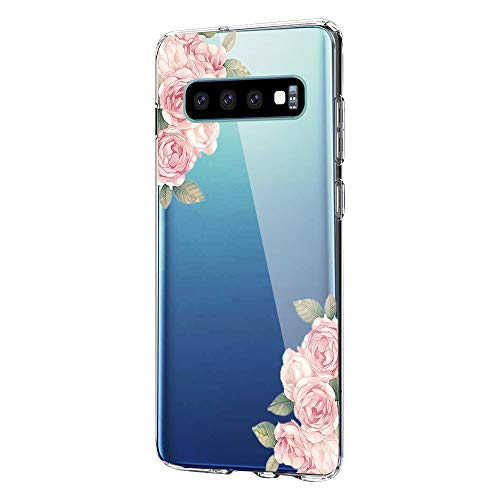 16Jessie Hülle Kompatibel Samsung Galaxy S10 Hüllen, Galaxy S10 Plus Schutzhülle Transparent Silikon Handyhülle Clear TPU Schutz Handytasche Blumen Marmor Muster Case Cover für Galaxy S10e (1, Galaxy S10)