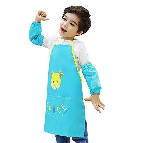 Hosim Kids Painting Schürze für Mädchen und Jungen, Kinder Bunte Kunst Handwerk Kittel mit Ärmelschoner und Große Tasche, Wiederverwendbare Malerei und Küchenschürze
