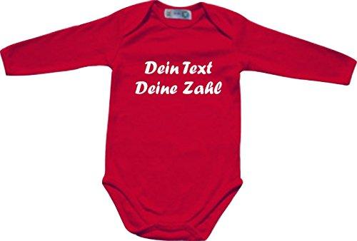 ShirtInStyle Langarm Babybody mit deinem Wunschdruck veredelt, Farbe rot, Größe 50-56