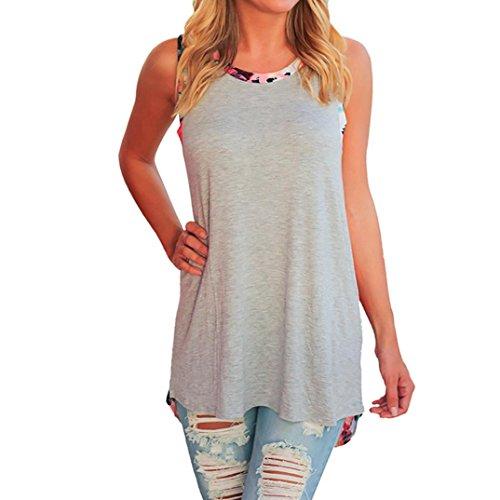 QinMM Damen Blumendruck Ärmellos Weste Tank Bluse Pullover Tops Shirt Lässige Perspektive Sommer T-Shirt Stylish Solid Weiß Rosa Grau Grün S-XL (S, Grau)