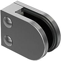 V4A Glasklemme 63//45 mm mit Sicherungsplatte und flachem Ansatz