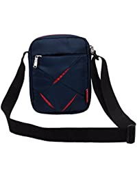 COSMUS Polyester Navy Blue and Red Sling Bag for Men