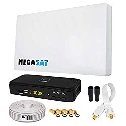 HB-DIGITAL SAT Set Megasat Sat-Flachantenne H30D1 Single 1 Teilnehmer + SAT-Recever + Halterung + 10m Kabel + Fensterdurchführung + 4X F-Stecker + 2X Gummitüllen + HDMI Kabel   Full HD