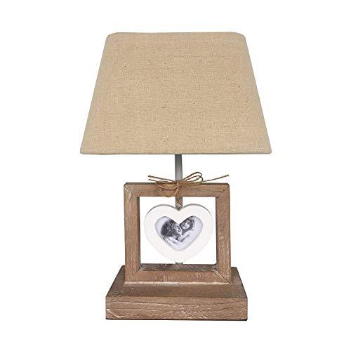 Rebecca Mobili Lampe de Table de Chevet avec 1 Cadre-Photo, Lampe de Nuit, Bois Tissu, Marron Clair Blanc, Retro, Chambre d'Enfants - Max 60 W E27 GLS - 32 x 20,5 x 14,5 cm (HxLxL) - Art. RE6203
