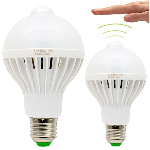 2X E27 Bombilla Detector de Movimiento 9W PIR Bulbo Llevado Sensor de Movimiento Iluminación de Seguridad Blanco Frío 6500K Sensor de Luces LED 220V