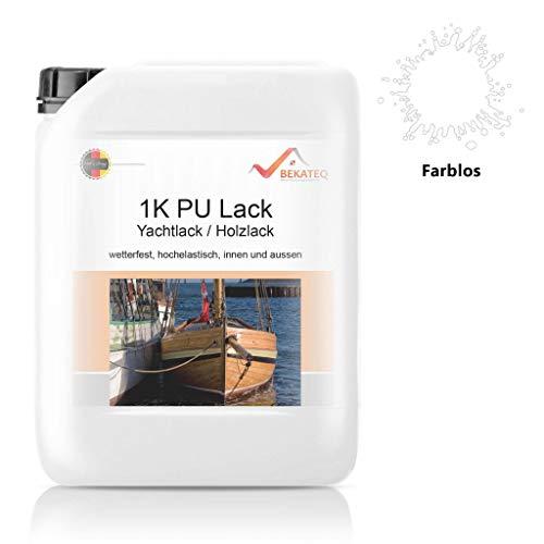 Bekateq LS-150 PU Klarlack für Holz, 2,5L Farblos glänzend, Holzlack für Parkett, Treppen, Boot oder Yacht auf Polyurethan Basis