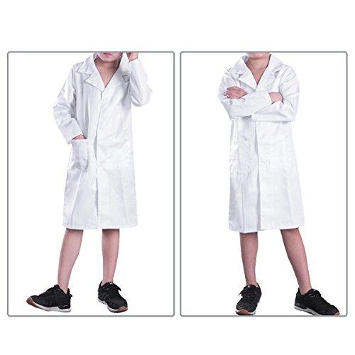 dPois Unisex Laborkittel Arztkittel Arzt Kostüm für Mädchen & Jungen Cosplay Mantel Baumwolle Labor Kittel Weiß Halloween Weihnachten Fasching Kostüm Weiß 128-140 / 8-10 Jahre (Arzt, Kostüme 10)