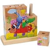 Eichhorn 109468630 - Kikaninchen Bilderwürfel-Puzzle - 9 Würfel - 4 Motive zum Stecken - 14x14cm