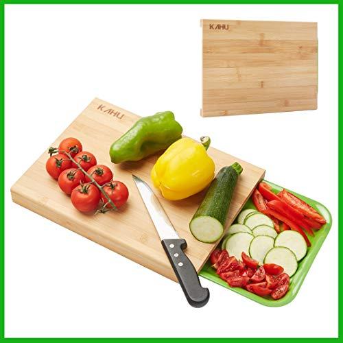 KAHU Premium Organic Bambus Schneidebrett mit Auffangschale - ideales Maß 33x25cm - antibakteriell - hart und widerstandsfähiges Küchenbrett - hitzebeständig und rutschfest - langlebig