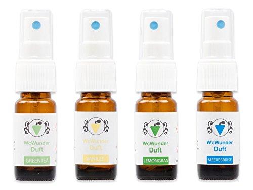 WcWunder Toilettenduft, Toilettenparfüm, Geruchsblocker 4x 10ml ´to go´-Versionen in den Duftnoten Meeresbrise, Vanille, Lemongras und GreenTea ...