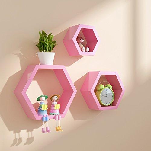 Büroschränke & -ablagen Sechseck Holzplatte Wandregal Kreatives Raster TV-Hintergrund Rollcontainer (Color : Pink)